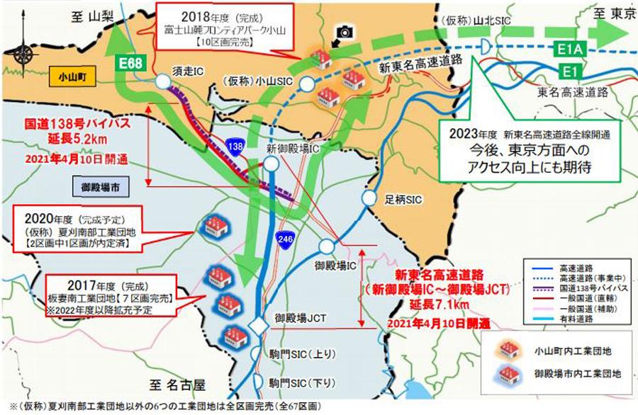 新東名高速|新御殿場IC|御殿場JCT|国道138号|開通|周辺工業団地への企業進出