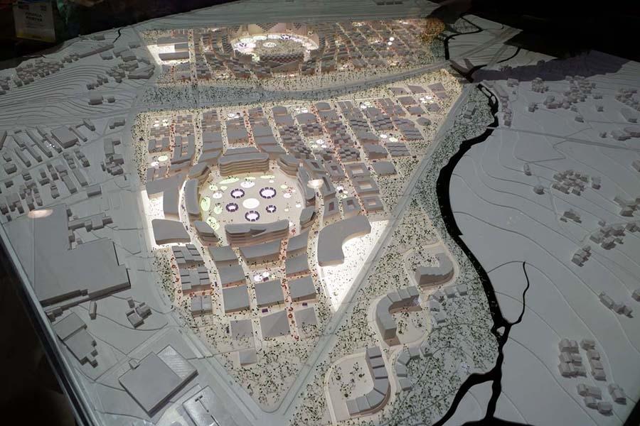 CES2020のトヨタブースで展示されたウーブン・シティ全景の模型