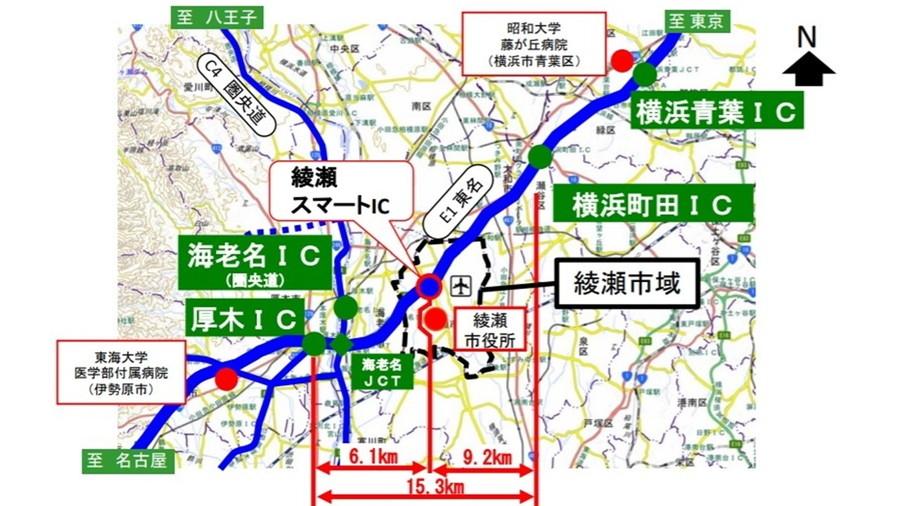 綾瀬スマートIC位置図