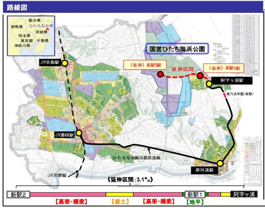 ひたちなか海浜鉄道の湊線延伸事業では、阿字ヶ浦駅から北西3.1kmを延伸。2024年春頃に新2駅が開業予定だ。