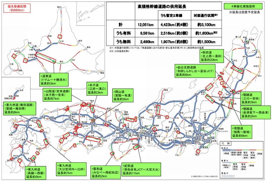 国土交通省は、高速道路4車線化において、2021年度に新たに着手する14か所(約86km)を選定した。