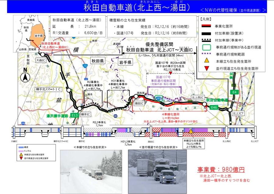 秋田自動車道・北上西IC~湯田ICの4車線化工事概要図