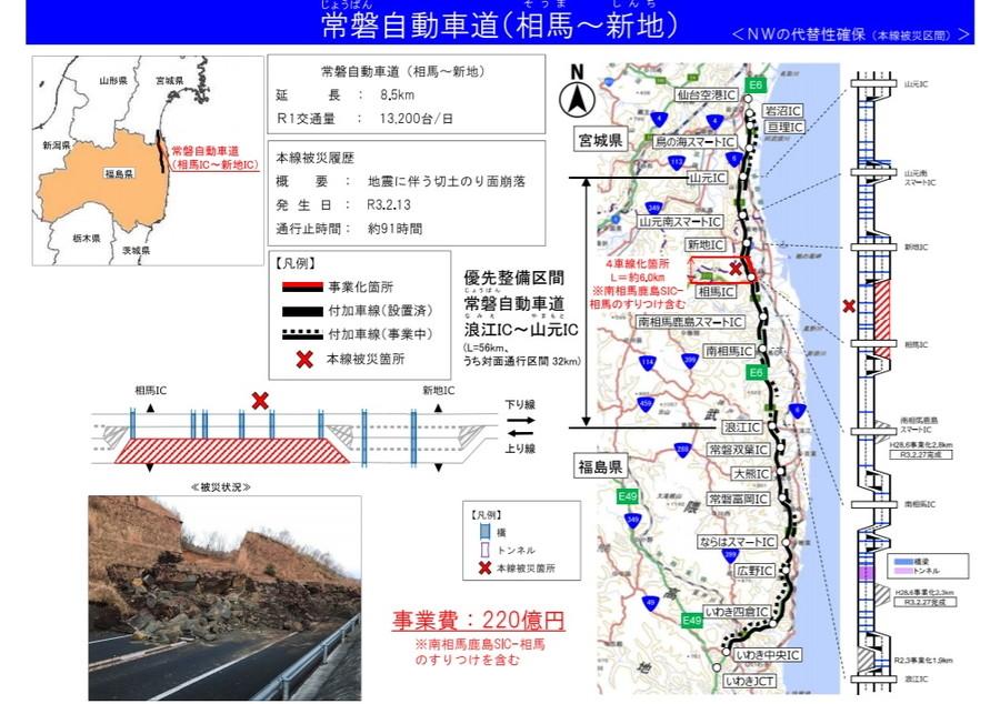常磐自動車道・相馬IC~新地ICの4車線化工事概要図