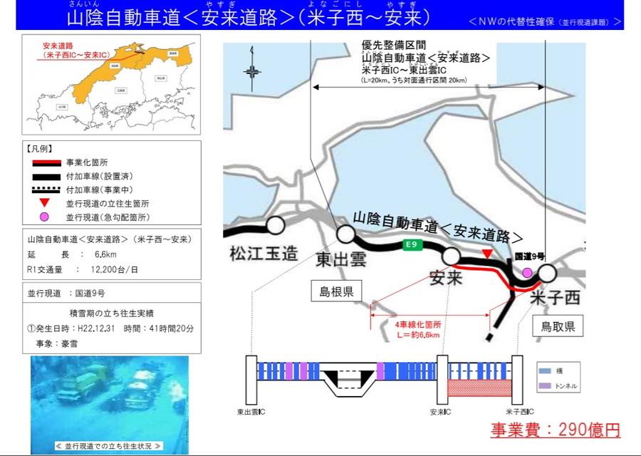 山陰自動車道(安来道路)・米子西IC~安来ICの4車線化工事概要図