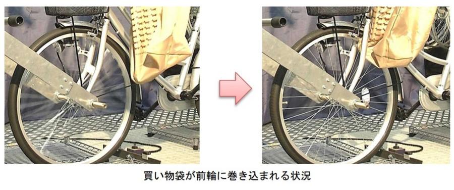 買い物袋が前輪に巻き込まれる状況図