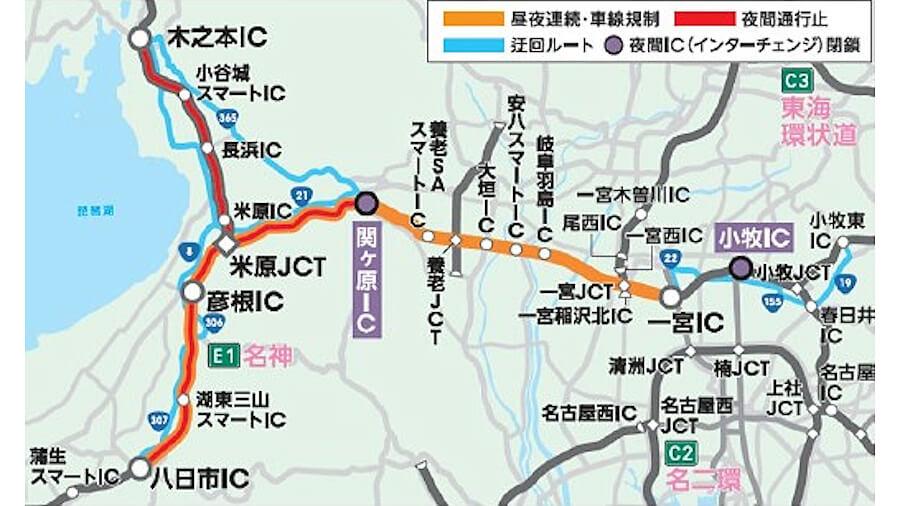NEXCO中日本では、集中工事により2021年6月5日(土)22時から同月19日(土)6時まで、E1名神高速(小牧IC~八日市IC)およびE8北陸道(米原JCT~木之本IC)において、昼夜連続車線規制および夜間通行止め、そして一部ICの夜間閉鎖を行う。出典:NEXCO中日本プレスリリース