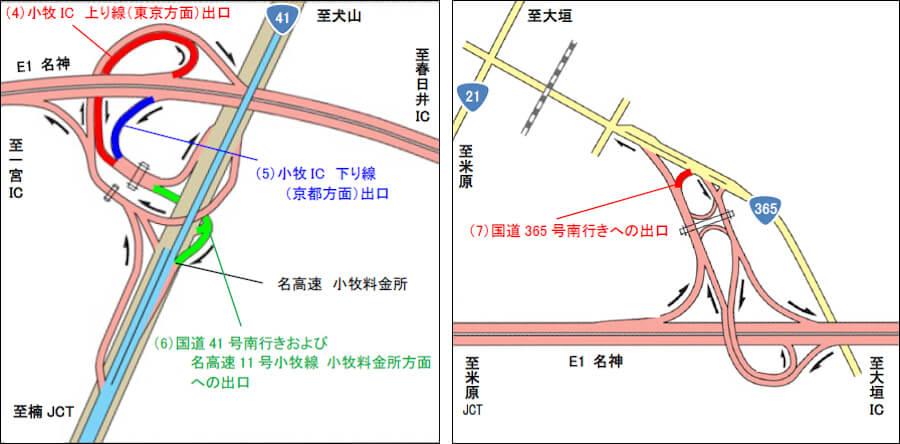 2021年6月の集中工事期間内で夜間閉鎖されるIC。出典:NEXCO中日本プレスリリース