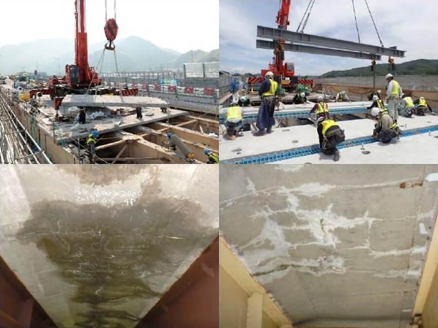 (左上)老朽化した床版の撤去の様子(イメージ)。(右上)新しい床版の設置の様子(イメージ)。(下2点)床版下面のひび割れが発生している状況。画像出典:NEXCO中日本プレスリリース