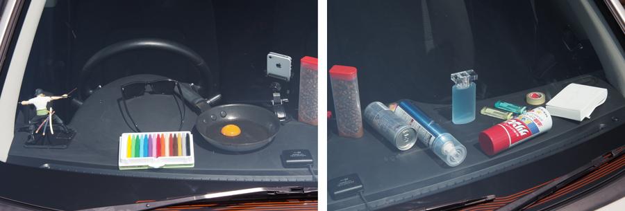 夏|暑さ対策|車内温度|車中泊|車内置き去り|JAFユーザーテスト|ダッシュボードに置いた日用品