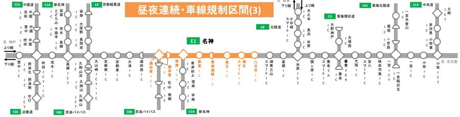 名神高速・吹田IC~小牧IC 集中工事 交通規制 IC閉鎖 昼夜連続・車線規制区間(3)