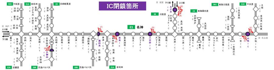 名神高速・吹田IC~小牧IC 集中工事 交通規制 IC閉鎖箇所