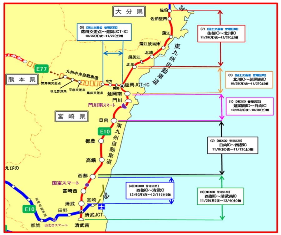 E10 東九州自動車道、E77 九州中央自動車道の工事にともなう夜間通行止め区間図
