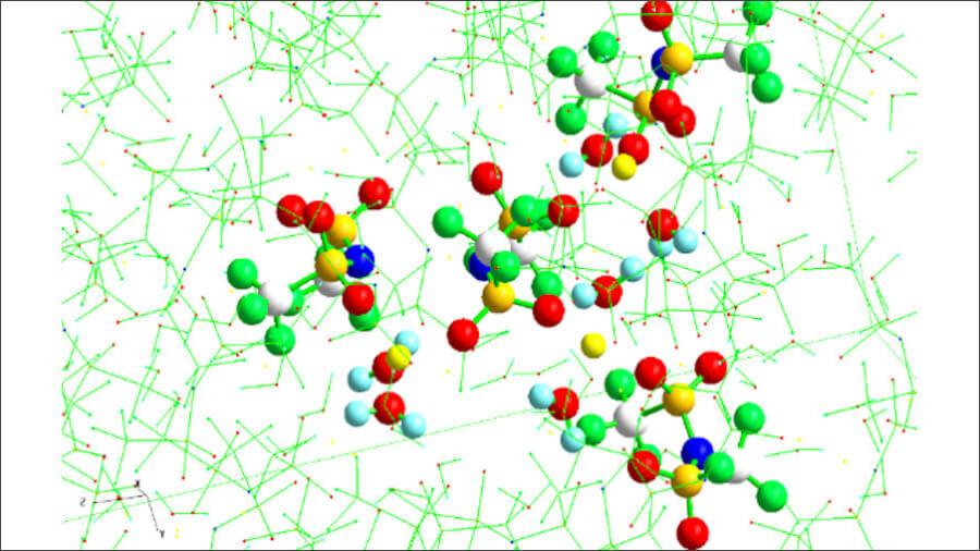 水溶液系リチウムイオン電池の電解液である「濃厚リチウム塩水溶液」の液体構造。新潟大学などによる共同プレスリリースより。
