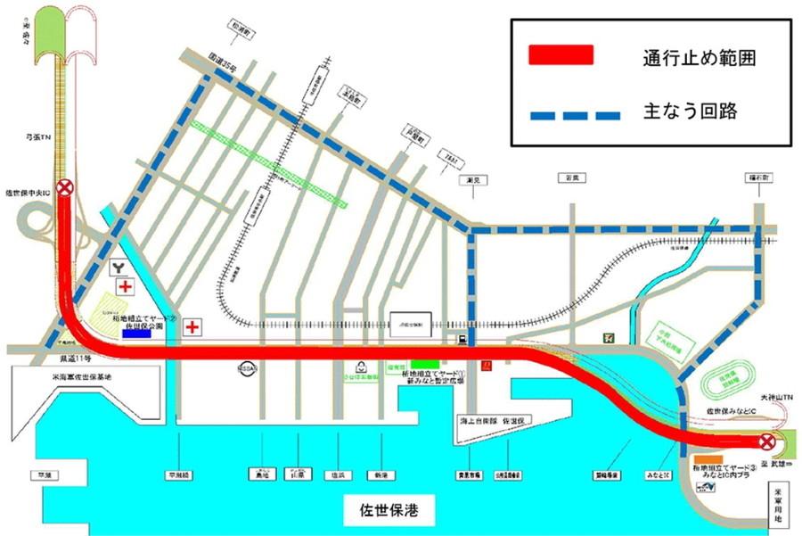 佐世保中央IC~佐世保みなとICの夜間通行止めにおける迂回路案内図