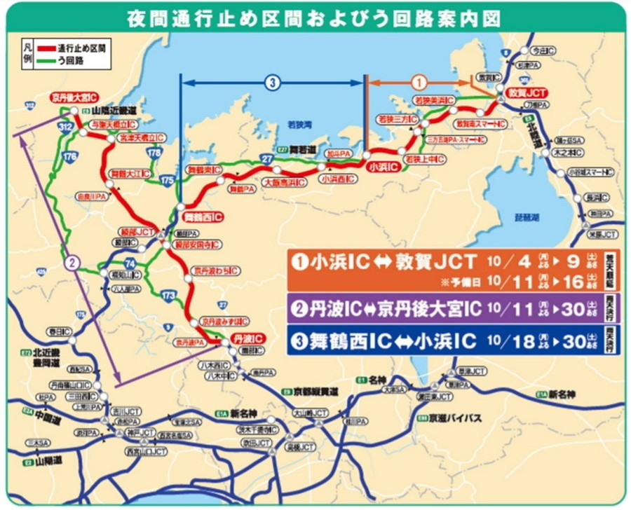 E27 舞鶴若狭道・E9 京都縦貫道・E9 山陰近畿道の夜間通行止め区間概要図
