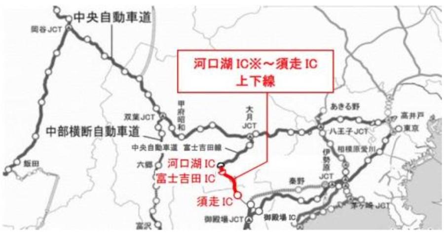 東富士五湖道路の夜間通行止め区間図