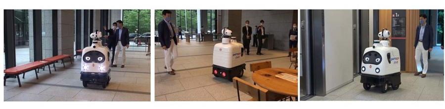 パトロの実証実験では、ベンチ、テーブル、エレベーターボタンなどが消毒液撒布機能によって効率よく消毒されていった。
