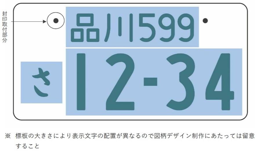 新全国版図柄入りナンバープレートデザインにおける、色味制限ありの範囲図