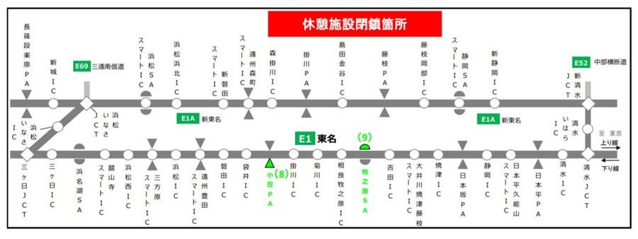 E1 東名・清水IC~小牧JCT 休憩施設閉鎖場所図