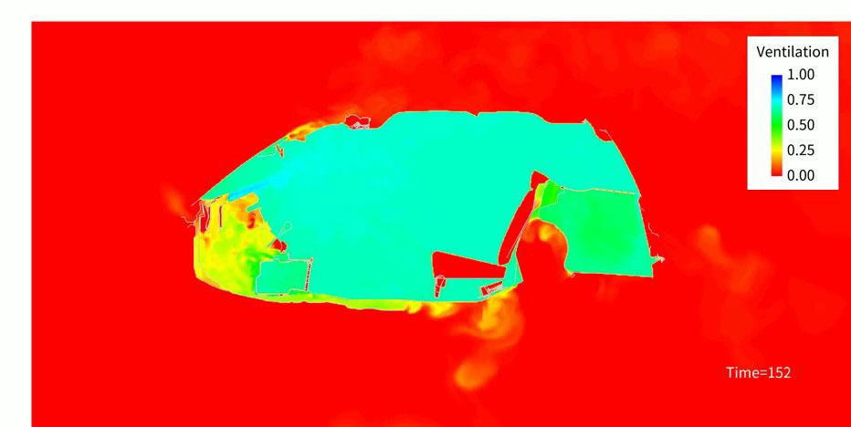仮想的に汚染空気で車内を満たし(赤)、エアコンの換気により新鮮空気(青)に入れ替わる様子を可視化した動画