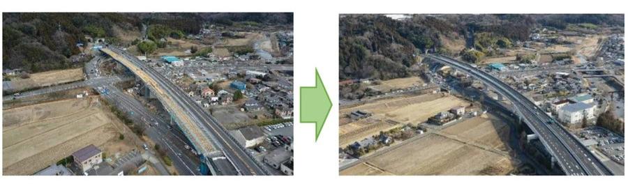常磐道・いわき中央IC~広野IC間の4車線運用状況(2021年3月末時点)