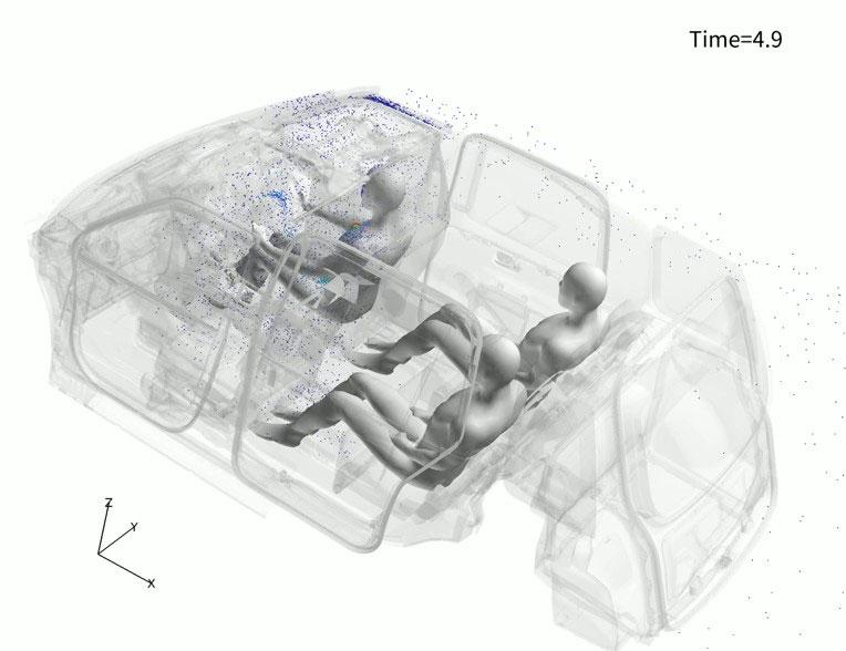 運転席と後部左の窓を開けてパーティションを付けた状態で、運転手が咳をした場合の飛沫飛散の様子